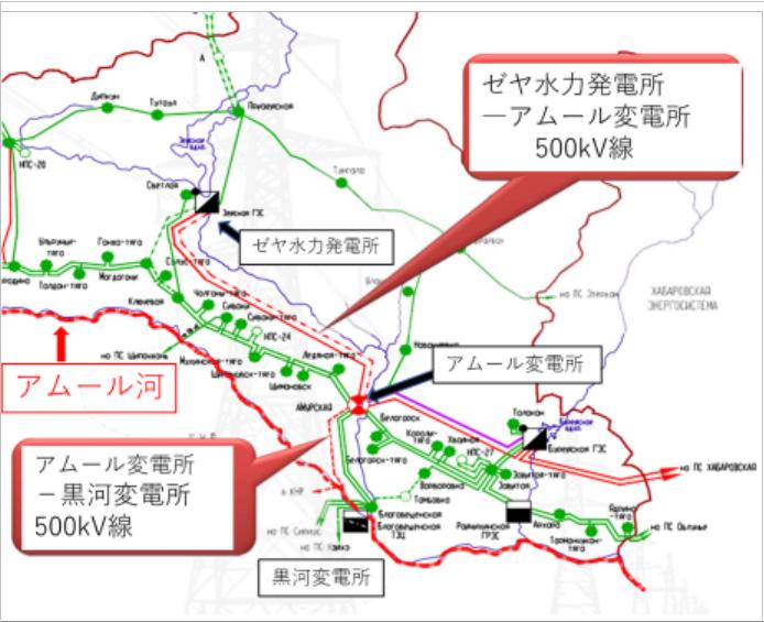 ゼヤ垂直発電所(アムール州)-黒滝江省への500kV送電線