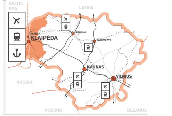 図3 リトアニアの主な経済特区と交通の要衝クライペダ